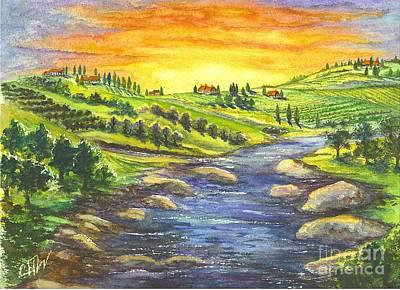 Napa Valley Vineyard Drawing - A Sunset In Wine Country by Carol Wisniewski