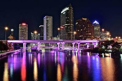 Townscape Photograph - A Tampa Night by Frozen in Time Fine Art Photography