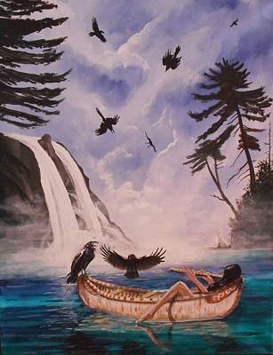 Canoe Waterfall Painting - A Tempted Murder by Nicholas Paul