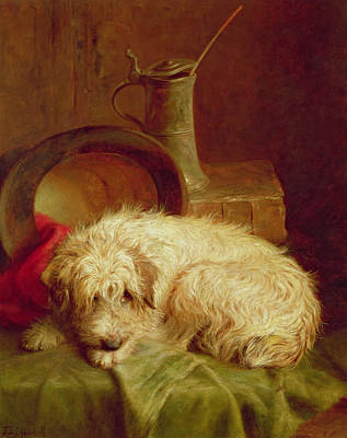 Sleeping Dogs Painting - A Terrier by John Fitz Marshall