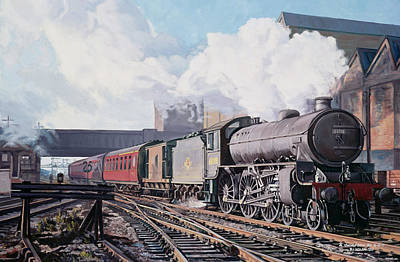 Old Time Painting - A 'thompson' B1 Class Moving Empty Stock On A Cold February Morning by David Nolan