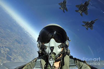 Self-portrait Photograph - A Three-ship Formation Of F-15e Strike by Stocktrek Images