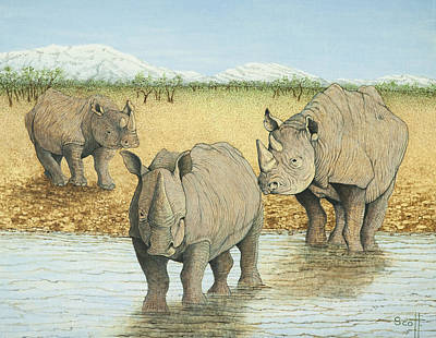 Endangered Species Painting - A Tough Life by Pat Scott