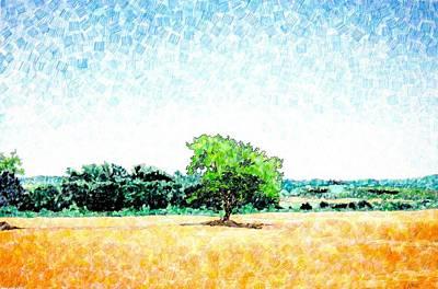 Italian Landscape Mixed Media - A Tree Near Siena by Jason Charles Allen