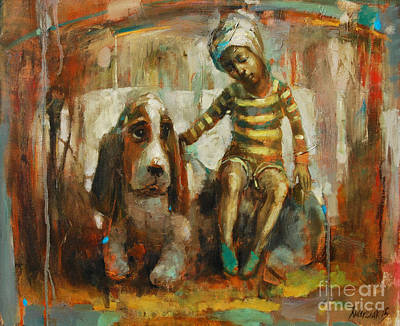 Native American Symbols Painting - A True Friend by Michal Kwarciak