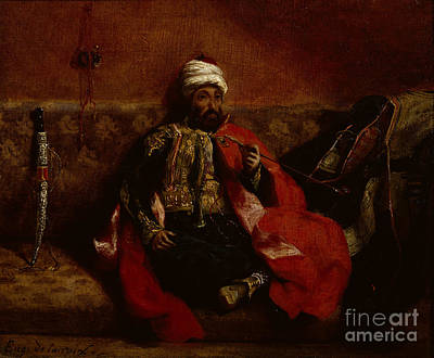 A Turk Smoking Sitting On A Sofa Print by Eugene Delacroix