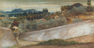 A Tuscan Landscape With Village And Olive Grove Print by John Roddam Spencer Stanhope