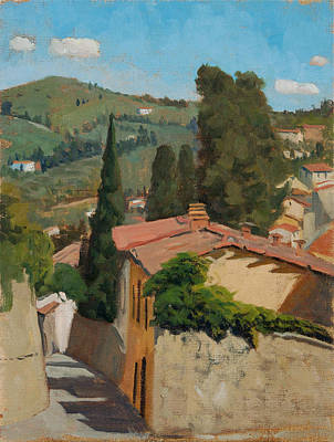 Rooftops Painting - A Tuscan View by Kelly Medford