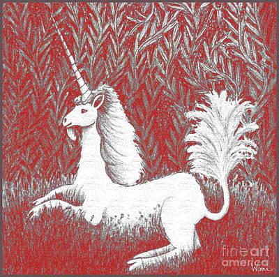A Unicorn In Moonlight Tapestry Print by Lise Winne