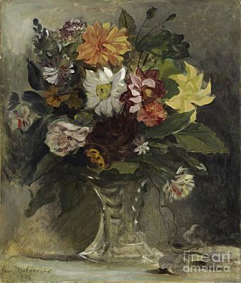 A Vase Of Flowers Print by Eugene Delacroix