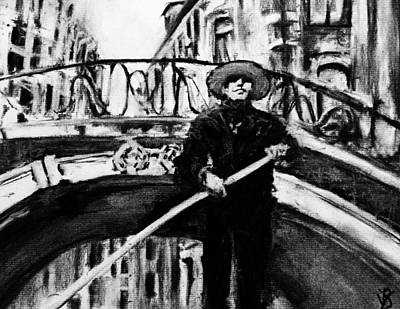 Charcoal Drawing - A Venice View by Victoria General