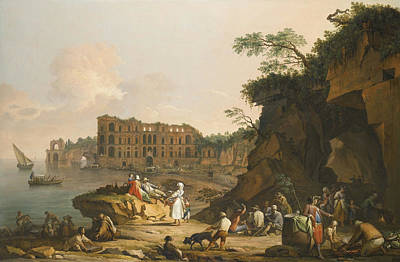 Drawing Painting - A View Of Mergellina And The Palazzo  by Pietro Fabris