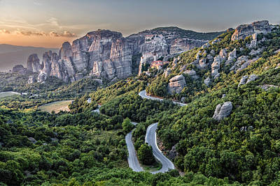 A View Of The Meteora Valley In Greece Print by Andres Leon