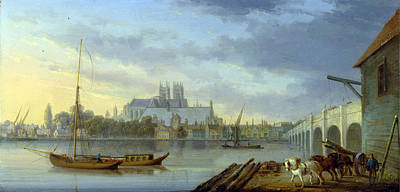 William Anderson Painting - A View Of Westminster Bridge And The Abbey From The South Side by William Anderson