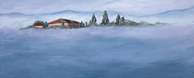 Italian Landscapes Painting - A Villa In The Mist by Mary Giacomini