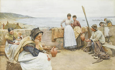 Walter Langley Drawing - A Village Idyll by Walter Langley