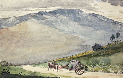 Horse And Cart Drawing - A Volante On A Mountain Road Cuba by Winslow Homer