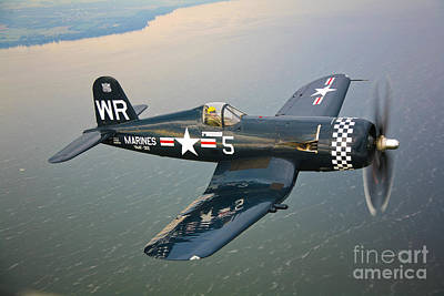 Person Photograph - A Vought F4u-5 Corsair In Flight by Scott Germain