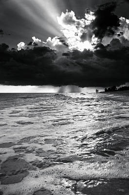 A Walk On The Beach In Black And White Print by Greg Mimbs