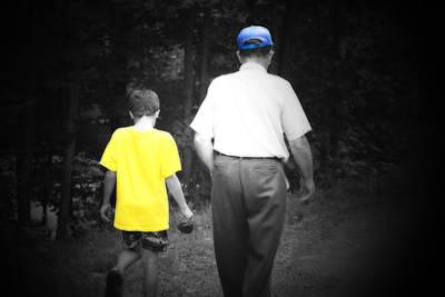 A Walk With Grandpa Print by Cathy  Beharriell