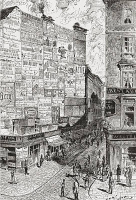 Capital Cities Drawing - A Wall Of Advertisements On A Street In by Vintage Design Pics