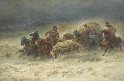 Yak Painting - A Wallachian Wagon Under Attac by Adolf Schreyer