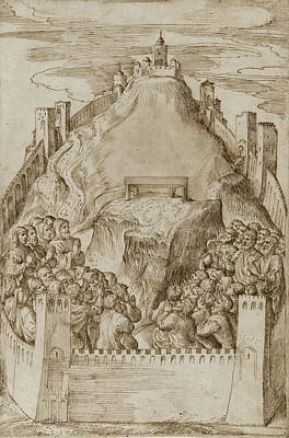Drawing - A Walled Ancient City Possibly Jerusalem People Praying In Front Of An Altar by Domenico Campagnola