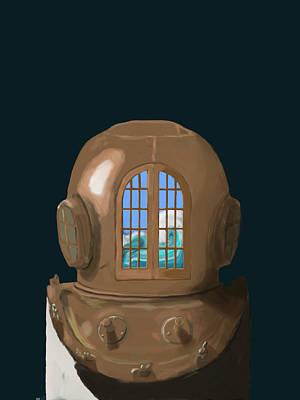 Diving Helmet Digital Art - A Wave Inside The Helmet by Keshava Shukla
