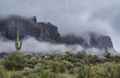 A Wave Of Fog On The Superstitions  Print by Saija Lehtonen