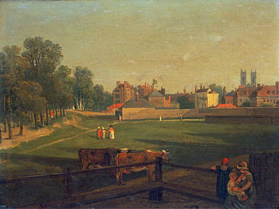 George Arnald Painting - A Western View Of Part Of Westminster And Bird Cage Walk Taken From The Mill House by George Arnald