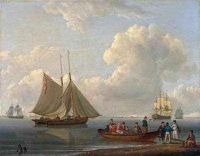 William Anderson Painting - A Wherry Taking Passengers Out To Two Anchored Packets by William Anderson