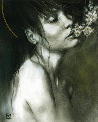 Florals Drawing - A Whisper by Patricia Ariel