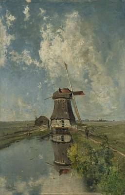A Windmill On A Polder Waterway Print by Celestial Images