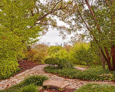 A Window To Downtown Austin From Zilker Botanical Garden - Austin Texas Hill Country Print by Silvio Ligutti