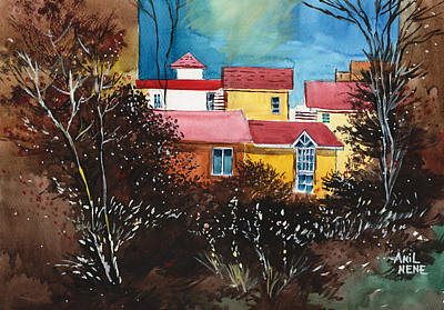 Christmas Holiday Scenery Painting - A Window To The Sky by Anil Nene