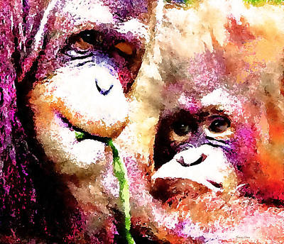 Orangutan Mixed Media - A Wink And A Smile - Orangutan by Stacey Chiew