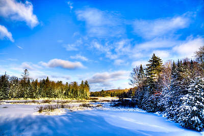 Snow Scenes Photograph - A Winter Afternoon At The Green Bridge by David Patterson