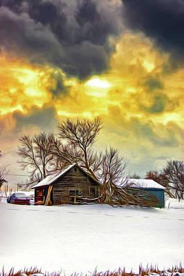 Winter Photograph - A Winter Eve 2 - Paint by Steve Harrington