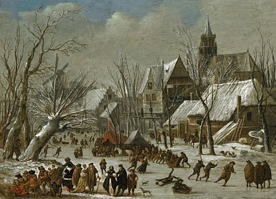 Painting - A Winter Landscape With Figures On A Frozen Canal by Gerrit Battem