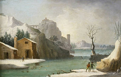 Painting - A Winter Landscape With Travellers Along A River A Hilltop Town Beyond by Francesco Foschi