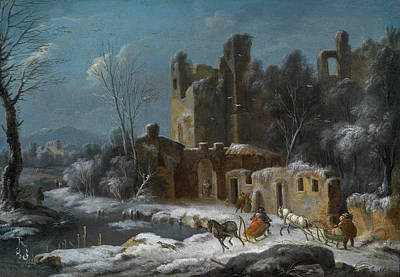 Thomas Wijck Painting - A Winter Landscape With Travellers by Thomas Wyck