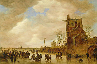 Snow Hockey Painting - A Winter Skating Scene by Jan Josephsz van Goyen
