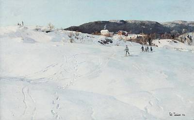 Skiing Painting - A Winter's Day In Norway by Fritz Thaulow