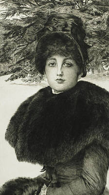 Pine Trees Drawing - A Winter's Walk by James Jacques Joseph Tissot