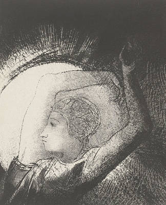 Moon Beams Drawing - A Woman Clothed By The Sun by Odilon Redon
