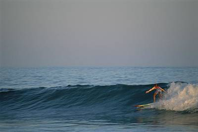 A Woman Surfing In Baja California Print by Jimmy Chin