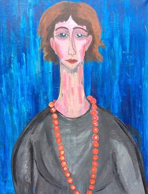 A Woman With A Red Necklace Original by Alexandra Novikova