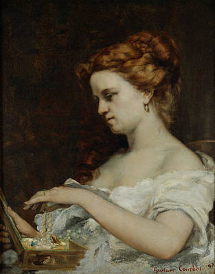 With Hands Painting - A Woman With Jewellery by Gustave Courbet