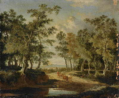 Painting - A Wooded Landscape With A Shepherd And His Herd On A Path Near A Puddle by Jan Hackaert