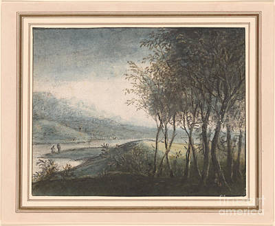 Distant Mountains Painting - A Wooded River Landscape With Distant Mountains by Celestial Images